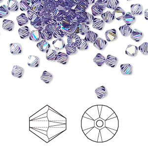 bead, swarovski crystals, crystal passions, tanzanite ab, 4mm xilion bicone (5328). sold per pkg of 48.