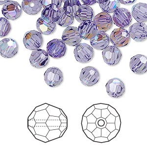 bead, swarovski crystals, crystal passions, tanzanite ab, 6mm faceted round (5000). sold per pkg of 12.