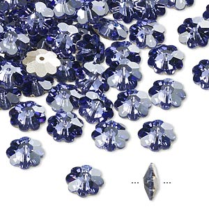 bead, swarovski crystals, crystal passions, tanzanite, foil back, 8x3mm faceted marguerite lochrose flower (3700). sold per pkg of 144 (1 gross).
