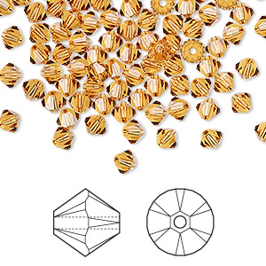 bead, swarovski crystals, crystal passions, topaz, 4mm xilion bicone (5328). sold per pkg of 48.