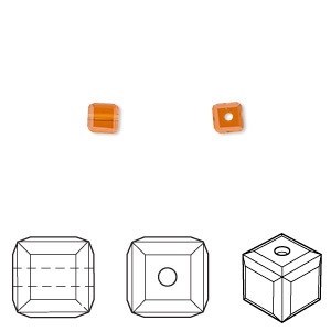 bead, swarovski crystals, crystal passions, topaz, 4x4mm faceted cube (5601). sold per pkg of 48.