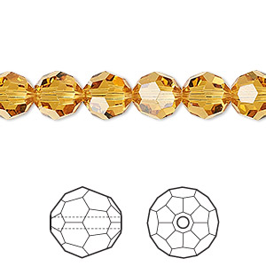 bead, swarovski crystals, crystal passions, topaz, 8mm faceted round (5000). sold per pkg of 12.
