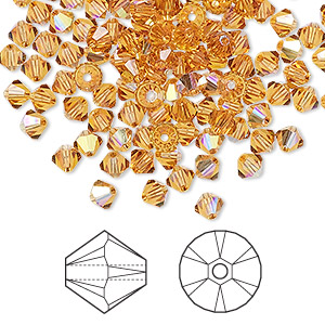 bead, swarovski crystals, crystal passions, topaz ab, 4mm xilion bicone (5328). sold per pkg of 144 (1 gross).
