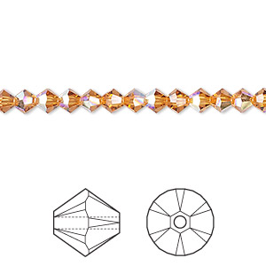 bead, swarovski crystals, crystal passions, topaz ab, 4mm xilion bicone (5328). sold per pkg of 48.