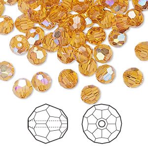 bead, swarovski crystals, crystal passions, topaz ab, 6mm faceted round (5000). sold per pkg of 144 (1 gross).