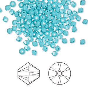 bead, swarovski crystals, crystal passions, turquoise, 3mm xilion bicone (5328). sold per pkg of 144 (1 gross).