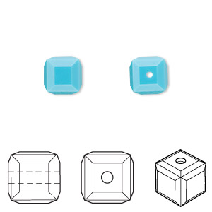 bead, swarovski crystals, crystal passions, turquoise, 8x8mm faceted cube (5601). sold per pkg of 6.