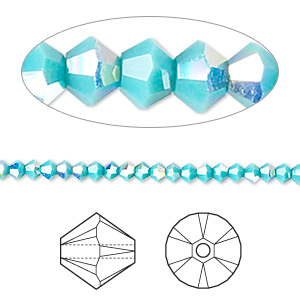 bead, swarovski crystals, crystal passions, turquoise ab, 3mm xilion bicone (5328). sold per pkg of 48.