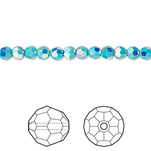 bead, swarovski crystals, crystal passions, turquoise ab2x, 4mm faceted round (5000). sold per pkg of 12.