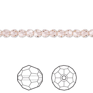 bead, swarovski crystals, crystal passions, vintage rose, 4mm faceted round (5000). sold per pkg of 144 (1 gross).