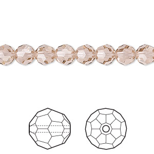 bead, swarovski crystals, crystal passions, vintage rose, 6mm faceted round (5000). sold per pkg of 12.