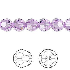 bead, swarovski crystals, crystal passions, violet, 8mm faceted round (5000). sold per pkg of 12.