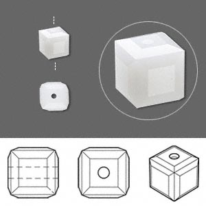 bead, swarovski crystals, crystal passions, white alabaster, 6x6mm faceted cube (5601). sold per pkg of 6.