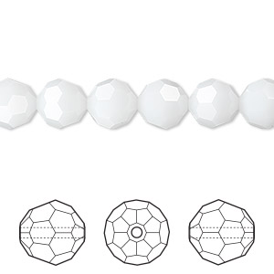 bead, swarovski crystals, crystal passions, white alabaster, 8mm faceted round (5000). sold per pkg of 12.