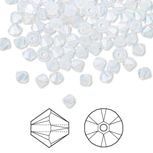 bead, swarovski crystals, crystal passions, white opal, 4mm xilion bicone (5328). sold per pkg of 48.