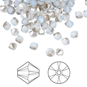bead, swarovski crystals, crystal passions, white opal satin, 4mm xilion bicone (5328). sold per pkg of 144 (1 gross).
