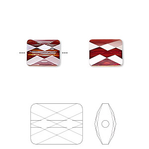 bead, swarovski crystals, crystal red magma, 10x8mm faceted mini rectangle (5055). sold per pkg of 72.