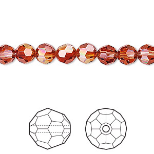 bead, swarovski crystals, crystal red magma, 6mm faceted round (5000). sold per pkg of 12.