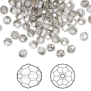 bead, swarovski crystals, crystal satin, 4mm faceted round (5000). sold per pkg of 144 (1 gross).