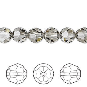 bead, swarovski crystals, crystal satin, 8mm faceted round (5000). sold per pkg of 288 (2 gross).