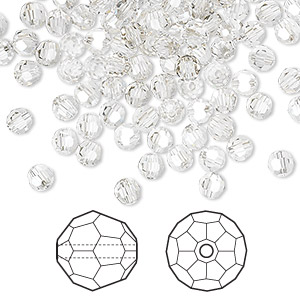 bead, swarovski crystals, crystal silver shade, 4mm faceted round (5000). sold per pkg of 720 (5 gross).