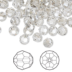 bead, swarovski crystals, crystal silver shade, 6mm faceted round (5000). sold per pkg of 360.