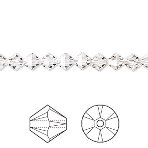 bead, swarovski crystals, crystal silver shade, 6mm xilion bicone (5328). sold per pkg of 360.