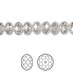 bead, swarovski crystals, crystal silver shade, 8x6mm faceted rondelle (5040). sold per pkg of 288 (2 gross).