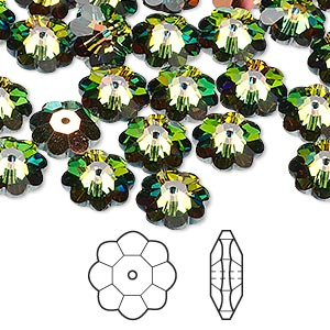 bead, swarovski crystals, crystal vitrail medium, 10x3.5mm faceted marguerite lochrose flower (3700). sold per pkg of 288 (2 gross).