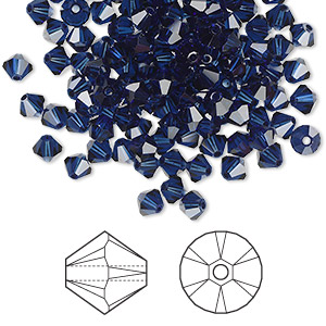 bead, swarovski crystals, dark indigo, 4mm xilion bicone (5328). sold per pkg of 1,440 (10 gross).