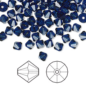 bead, swarovski crystals, dark indigo, 5mm faceted bicone (5301). sold per pkg of 720 (5 gross).
