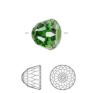 bead, swarovski crystals, dark moss green, 14x11mm faceted dome small (5542). sold per pkg of 48.