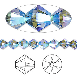 bead, swarovski crystals, denim blue ab2x, 6mm xilion bicone (5328). sold per pkg of 360.