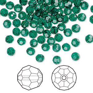 bead, swarovski crystals, emerald, 4mm faceted round (5000). sold per pkg of 720 (5 gross).
