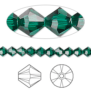 bead, swarovski crystals, emerald, 5mm xilion bicone (5328). sold per pkg of 24.