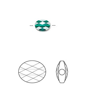 bead, swarovski crystals, emerald, 8x6mm faceted mini oval (5051). sold per pkg of 288 (2 gross).