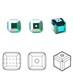 bead, swarovski crystals, emerald ab, 8x8mm faceted cube (5601). sold per pkg of 96.