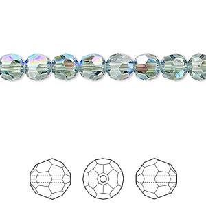 bead, swarovski crystals, erinite shimmer, 6mm faceted round (5000). sold per pkg of 360.