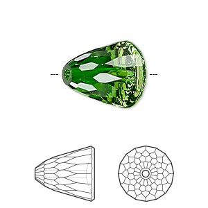 bead, swarovski crystals, fern green, 15x13.5mm faceted dome large (5541). sold per pkg of 48.