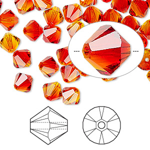 bead, swarovski crystals, fireopal, 6mm xilion bicone (5328). sold per pkg of 360.