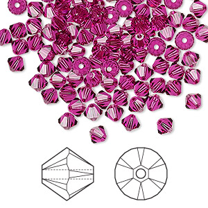 bead, swarovski crystals, fuchsia, 4mm xilion bicone (5328). sold per pkg of 1,440 (10 gross).