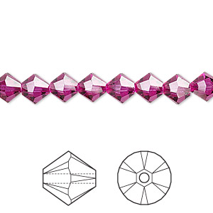 bead, swarovski crystals, fuchsia, 6mm xilion bicone (5328). sold per pkg of 24.