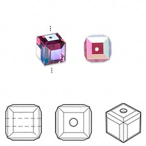 bead, swarovski crystals, fuchsia ab, 8x8mm faceted cube (5601). sold per pkg of 6.