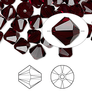 bead, swarovski crystals, garnet, 8mm xilion bicone (5328). sold per pkg of 288 (2 gross).