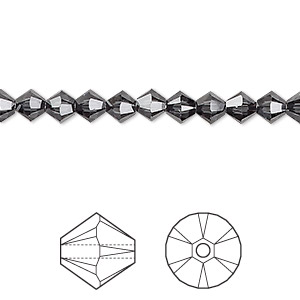 bead, swarovski crystals, graphite, 5mm xilion bicone (5328). sold per pkg of 720 (5 gross).