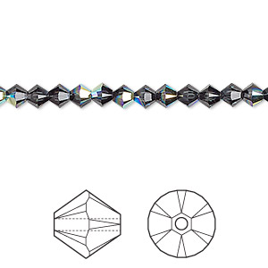bead, swarovski crystals, graphite ab, 4mm xilion bicone (5328). sold per pkg of 1,440 (10 gross).
