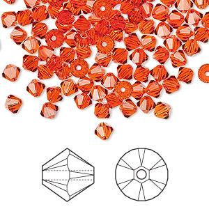bead, swarovski crystals, hyacinth, 4mm xilion bicone (5328). sold per pkg of 1,440 (10 gross).