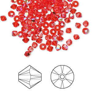 bead, swarovski crystals, hyacinth ab, 3mm xilion bicone (5328). sold per pkg of 1,440 (10 gross).