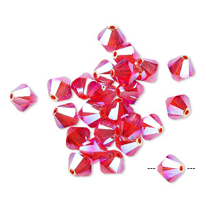 bead, swarovski crystals, hyacinth ab2x, 6mm xilion bicone (5328). sold per pkg of 24.