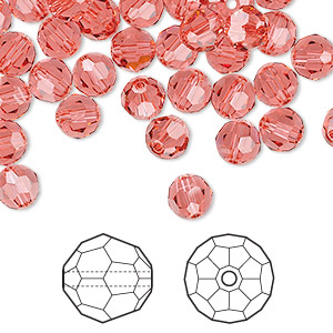 bead, swarovski crystals, indian pink, 6mm faceted round (5000). sold per pkg of 360.